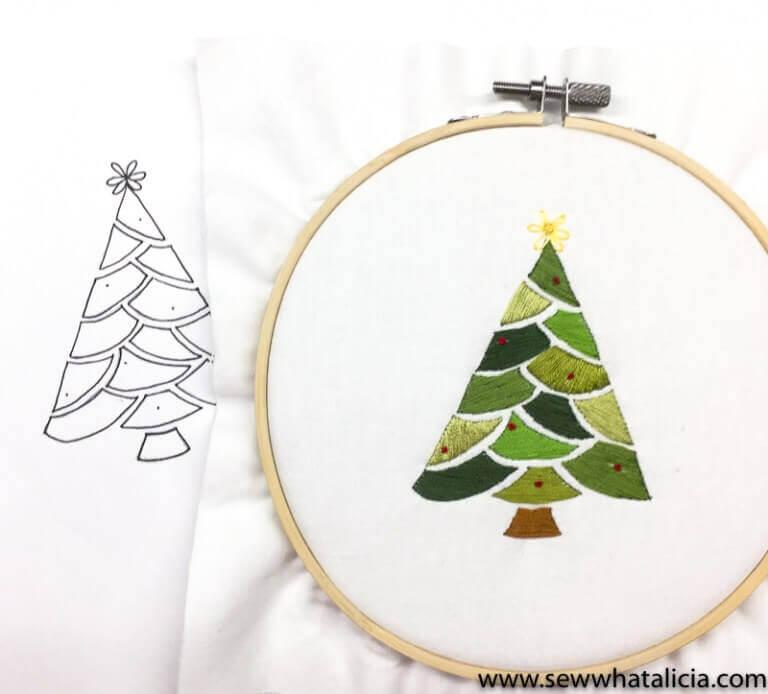 Embroidered Christmas Tree Pattern and Tutorial 17 sewwhatalicia - 25 moderne borduurpatronen voor kerst 2021 (+ gratis patronen!)