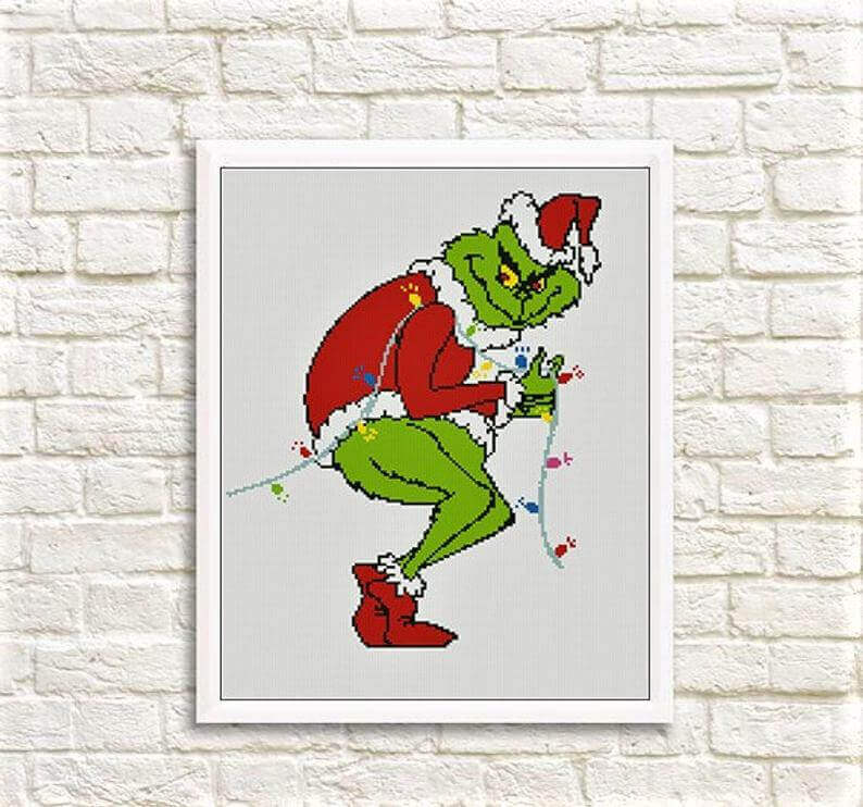 grinch kruissteek kerst etsy - 25 moderne borduurpatronen voor kerst 2021 (+ gratis patronen!)