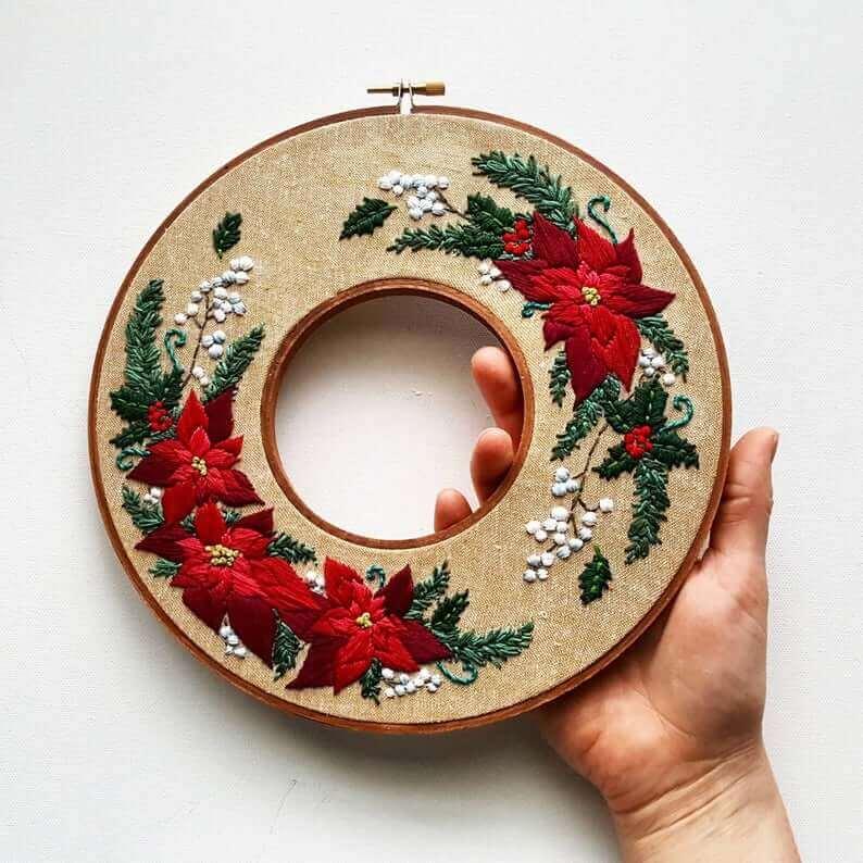 kerstkrans kerst etsy - 25 moderne borduurpatronen voor kerst 2021 (+ gratis patronen!)