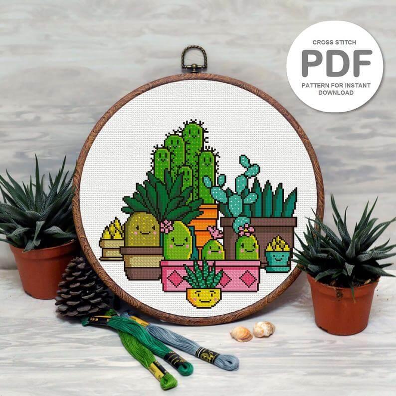 cactus kawaii etsy - 18x groene inspiratie voor botanical borduurpatronen: urban jungle borduren!