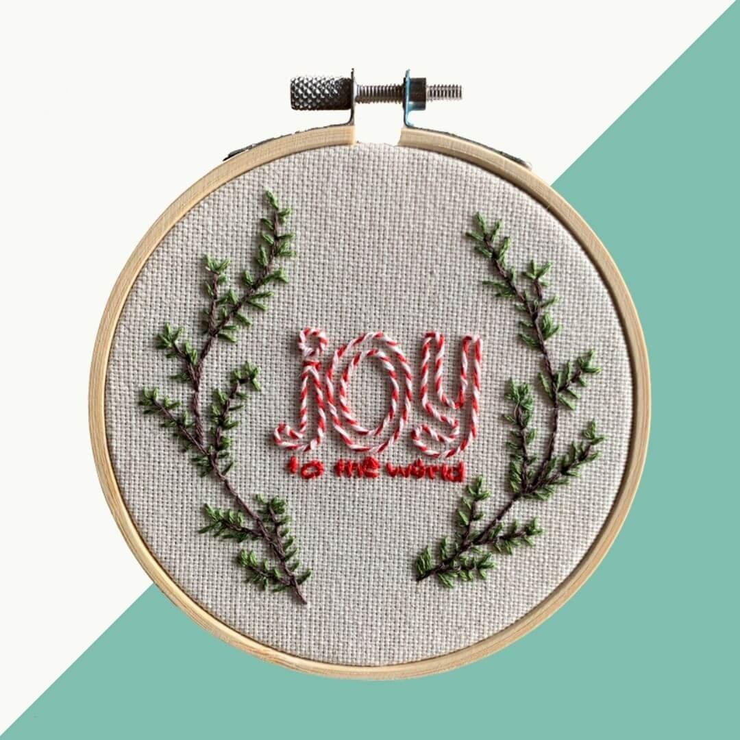 12daysofchristmas insta - Gratis borduurpatroon: Joy to the world